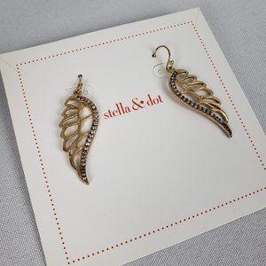 Stella & Dot Gold Rhinestone Angel Wing Earrings